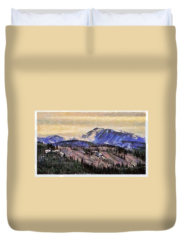 Denali Park Alaska Snow Montain Blue Sky Duvet Cover featuring the photograph Denali Park - Alaska by Galeria Trompiz