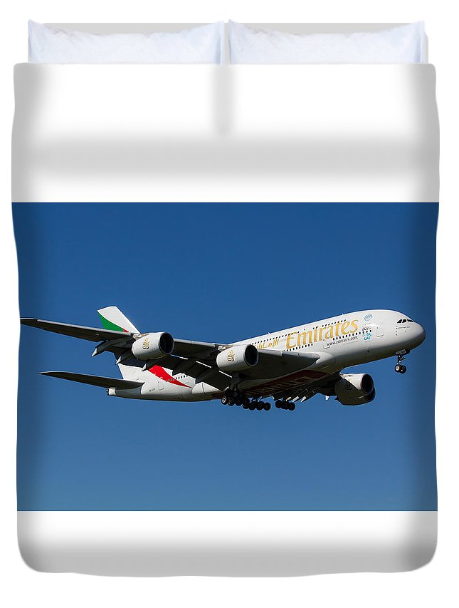 Emirates Duvet Cover featuring the photograph Emirates Airbus A380 by David Pyatt