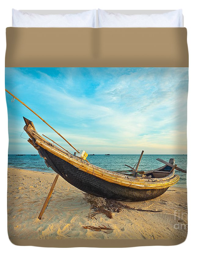 Boat Duvet Cover featuring the photograph Fisherman Boat by MotHaiBaPhoto Prints