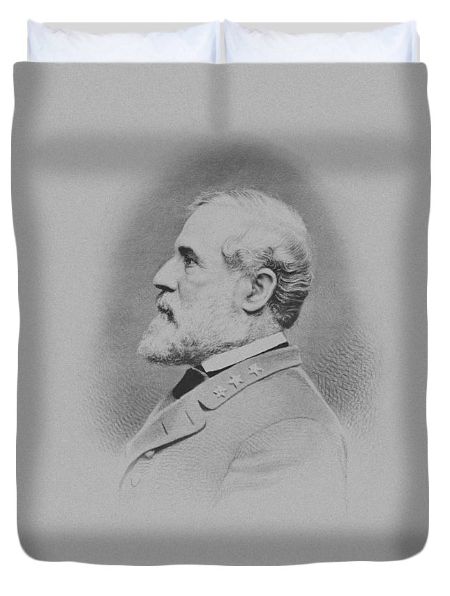 General Lee Duvet Cover featuring the mixed media General Robert E Lee by War Is Hell Store
