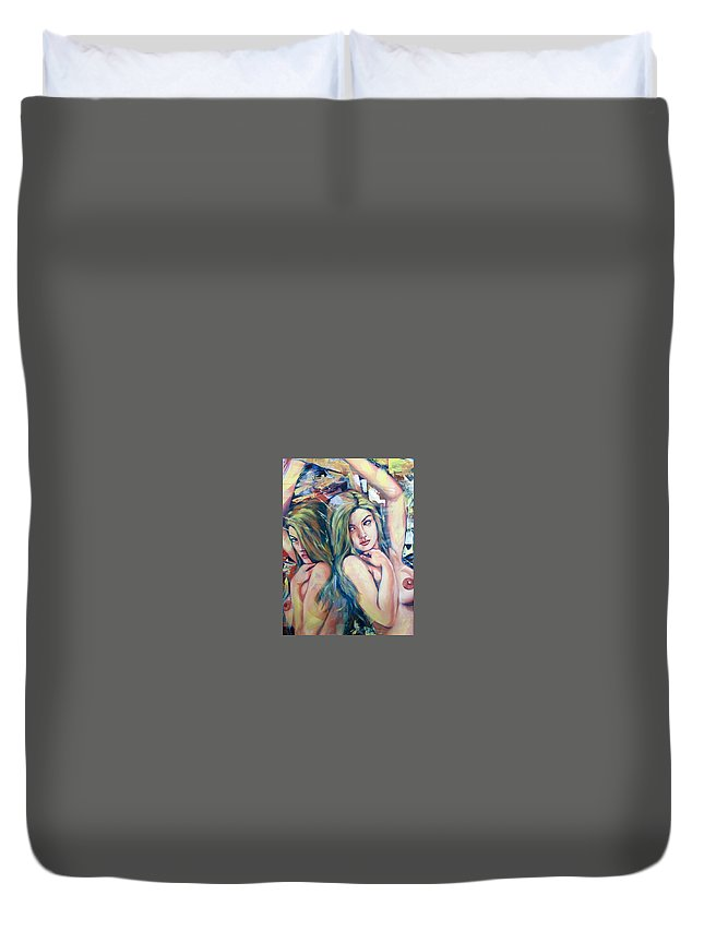 Duvet Cover featuring the painting Girl by Niti Is a painter