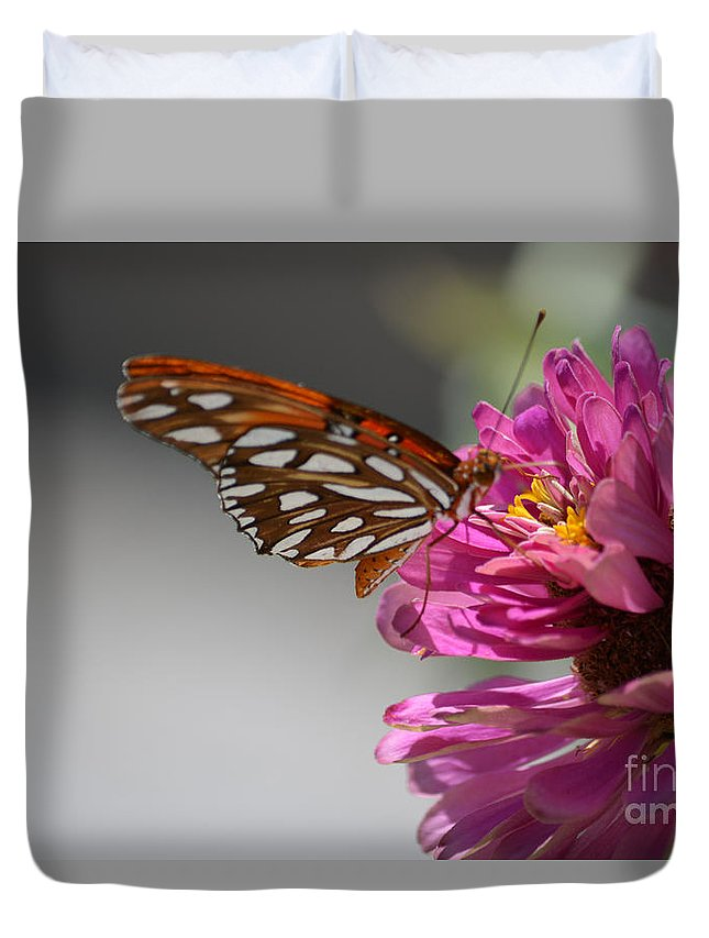 Gulf Fritillary Butterfly Prints Duvet Cover featuring the photograph Gulf Fritillary Butterfly by Ruth Housley
