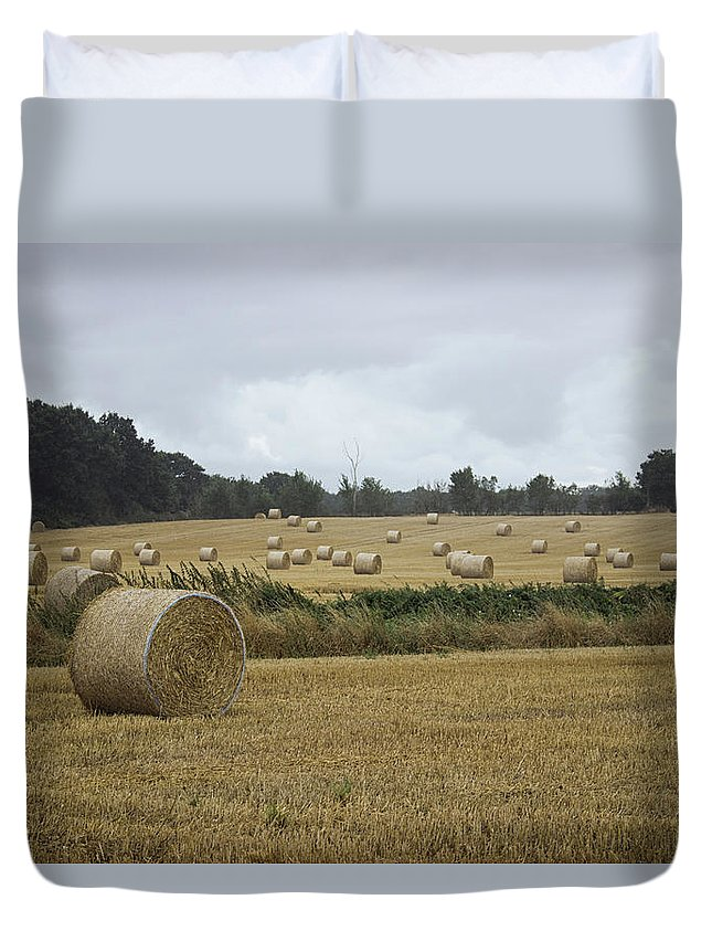 Bale Duvet Cover featuring the photograph Hay Bales by Martin Newman