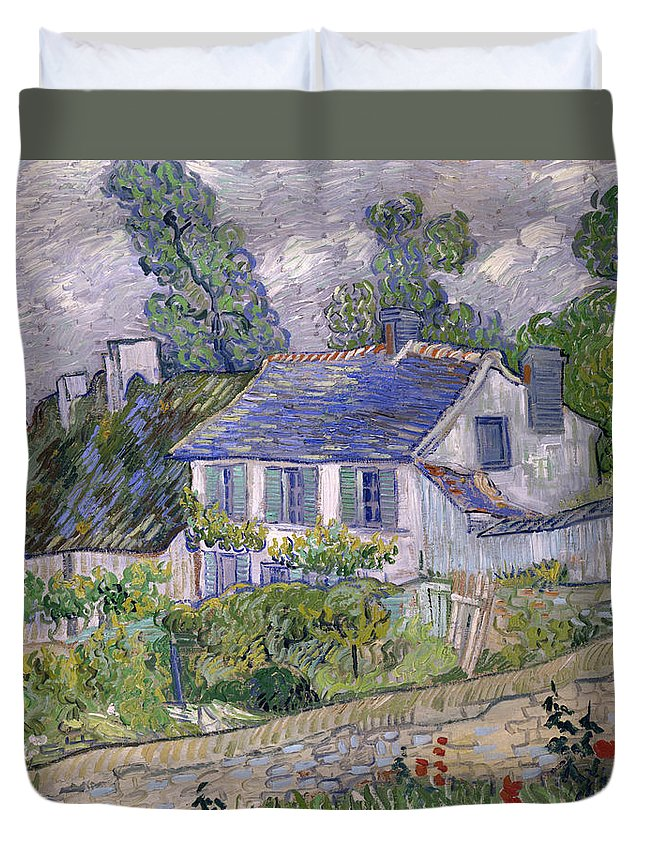 Houses At Auvers Duvet Cover featuring the painting Houses At Auvers by Vincent van Gogh