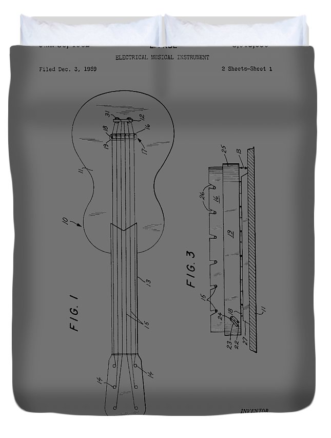 Les Paul Duvet Cover featuring the photograph Les Paul Electric Guitar From 1959 by Chris Smith