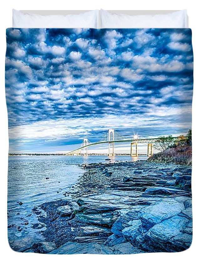 Sunrise Duvet Cover featuring the photograph Newport Bridge Connecting Newport And Jamestown At Sunrise by Alex Grichenko