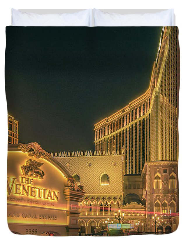 Casino Duvet Cover featuring the photograph November 2017, Las Vegas Nevada - Architecture And Buildings At by Alex Grichenko