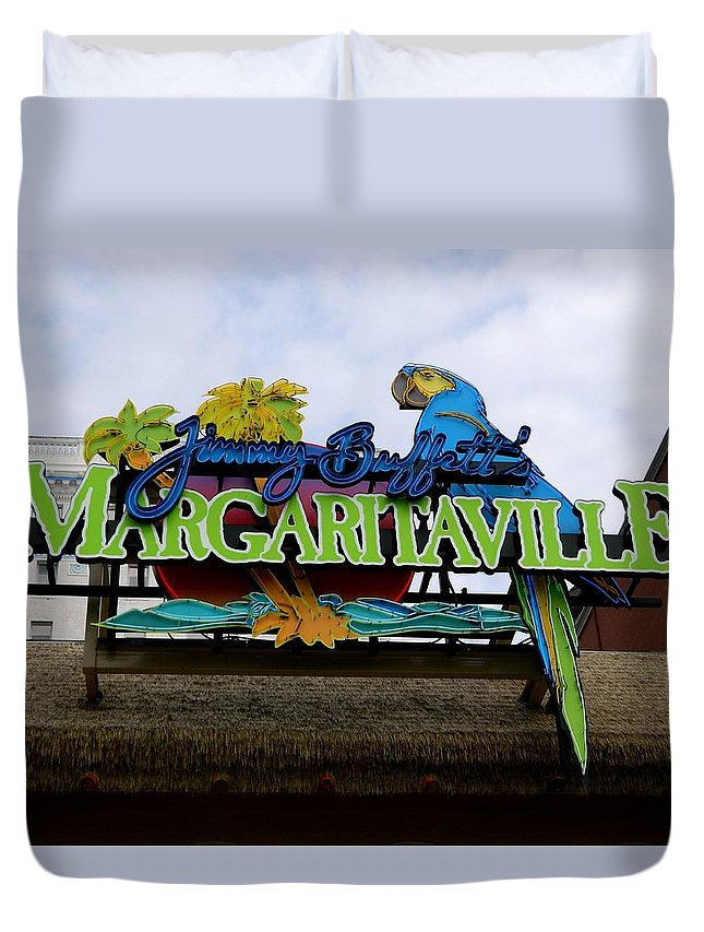 Sign Duvet Cover featuring the photograph 5 O'clock Somewhere by Arlane Crump