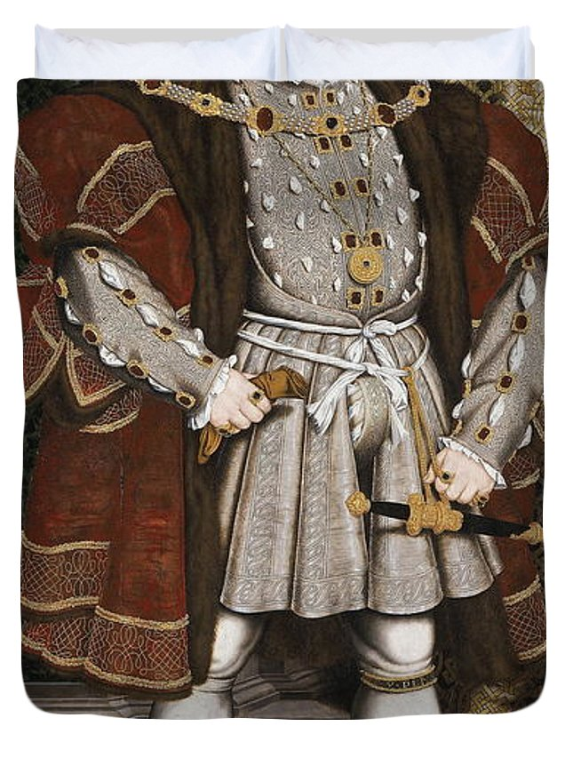 European Duvet Cover featuring the painting Portrait Of Henry Viii by Hans Holbein The Younger