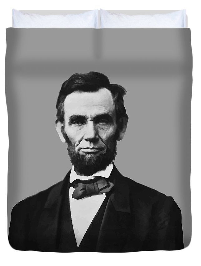 Abraham Lincoln Duvet Cover featuring the mixed media President Lincoln by War Is Hell Store