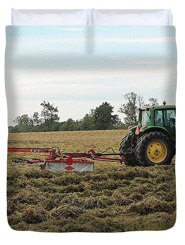 Mccombie Duvet Cover featuring the painting Raking Hay by J McCombie