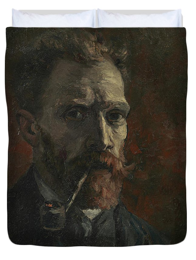 Vincent Van Gogh Duvet Cover featuring the painting Self-portrait With Pipe by Vincent van Gogh