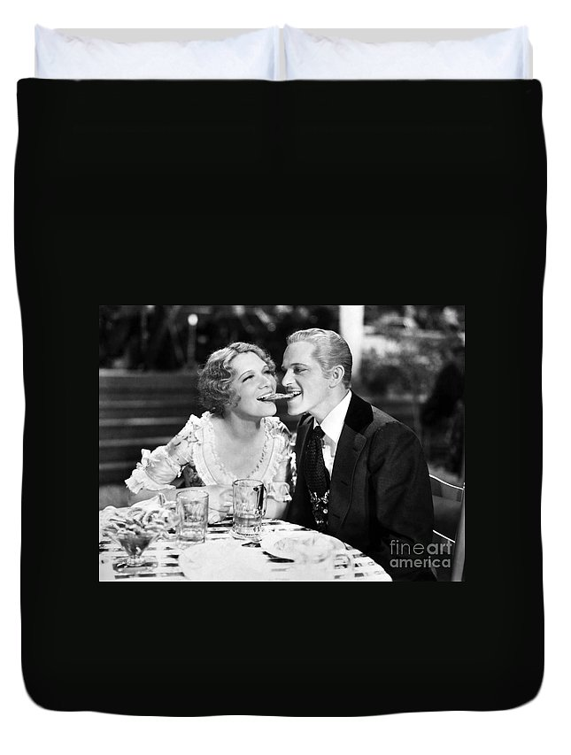 -one Man One Woman- Duvet Cover featuring the photograph Silent Still: Man & Woman by Granger