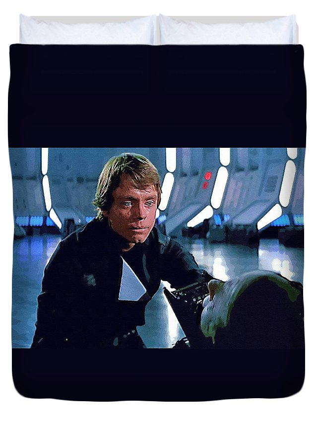 Anakin Star Wars Duvet Cover featuring the digital art Star Wars Characters Poster by Larry Jones
