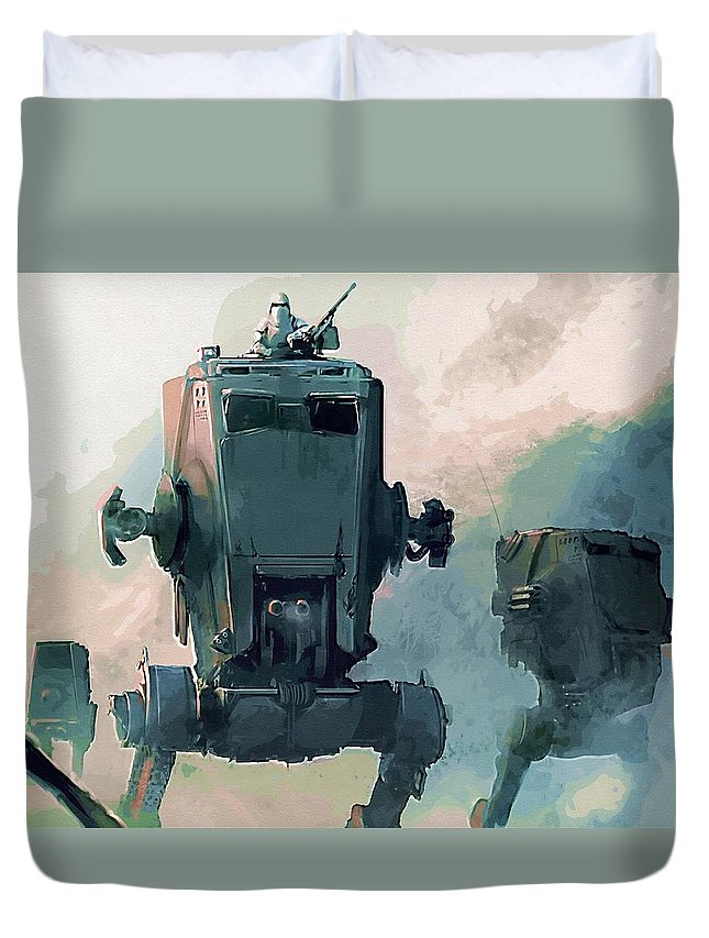 Star Wars Boba Fett Duvet Cover featuring the digital art Star Wars Episode 3 Poster by Larry Jones