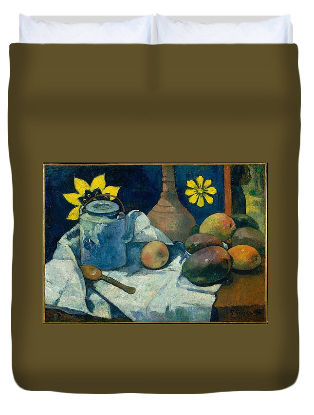 Paul Gauguin Still Life With Teapot And Fruit Duvet Cover featuring the painting Still Life With Teapot And Fruit by Paul Gauguin