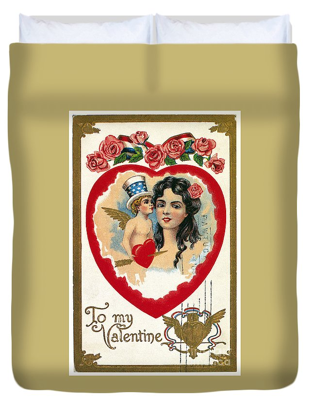 1908 Duvet Cover featuring the photograph Valentines Day Card by Granger