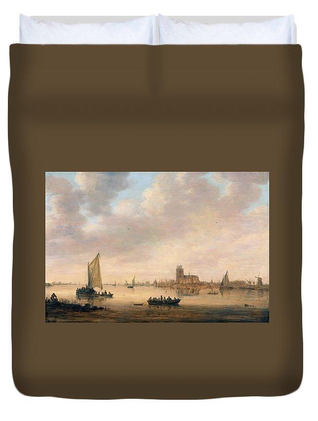 Jan Van Goyen Duvet Cover featuring the painting View Of Dordrecht From The Dordtse Kil by Jan van Goyen