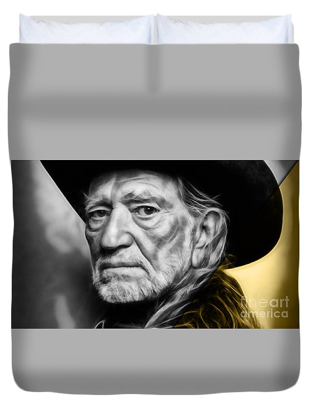 Willie Nelson Duvet Cover featuring the mixed media Willie Nelson Collection by Marvin Blaine