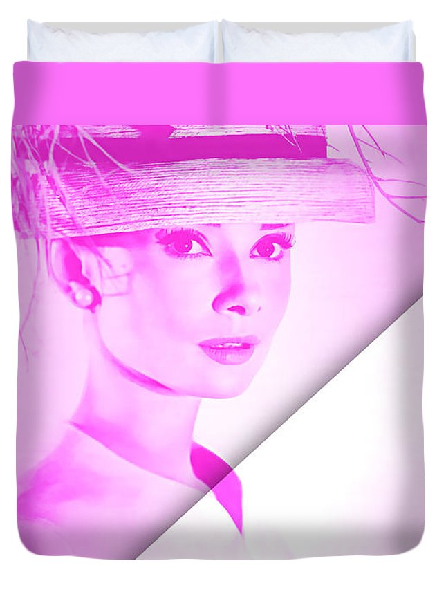 Audrey Hepburn Duvet Cover featuring the mixed media Audrey Hepburn Collection by Marvin Blaine