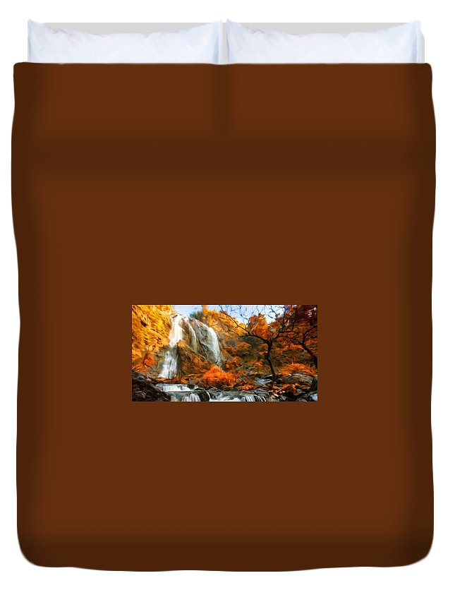 Landscape Duvet Cover featuring the painting Nature Landscape Oil Painting by World Map