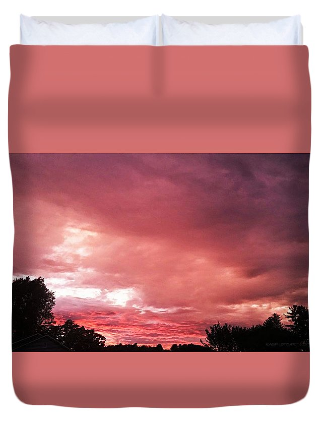 Sunset Duvet Cover featuring the photograph 50 Shades Of Purple by Kathy Barney