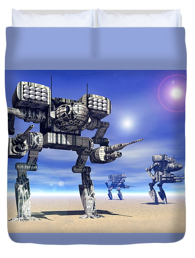 Science Fiction Duvet Cover featuring the digital art 501st Mech Trinary by Curtiss Shaffer