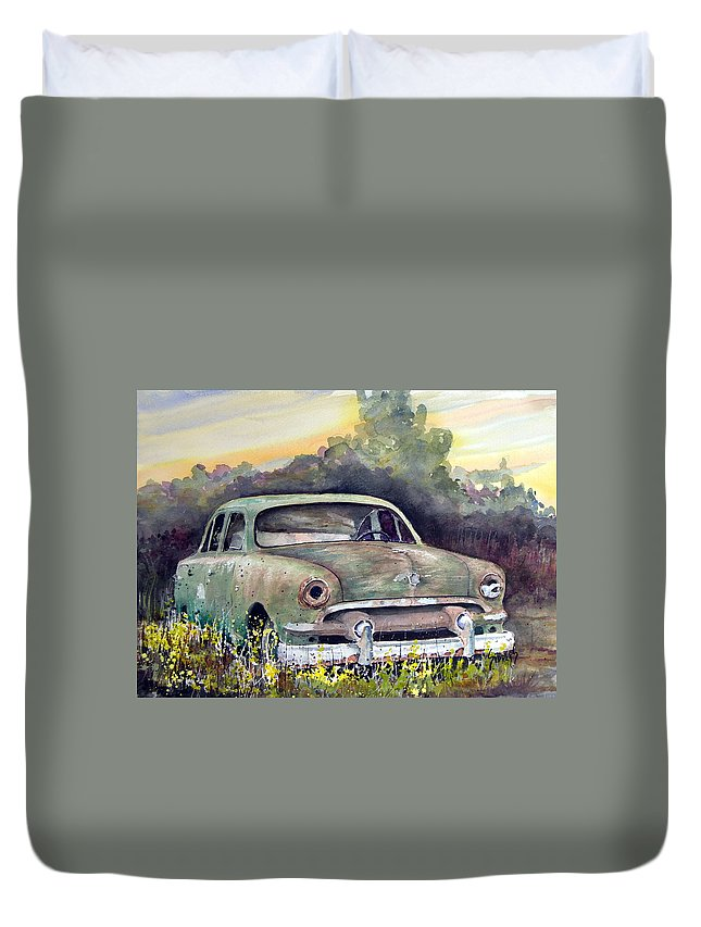 Car Duvet Cover featuring the painting 51 Ford by Sam Sidders