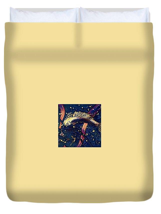 Duvet Cover featuring the digital art Koi Fish by Melinda Sullivan Image and Design