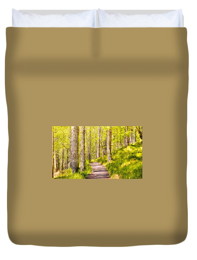 Landscape Duvet Cover featuring the painting Types Of Landscape Nature by World Map