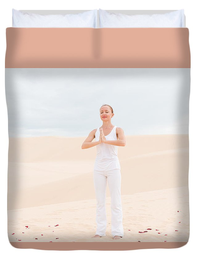 Asana Duvet Cover featuring the photograph Young Woman Practicing Yoga by Nikita Buida