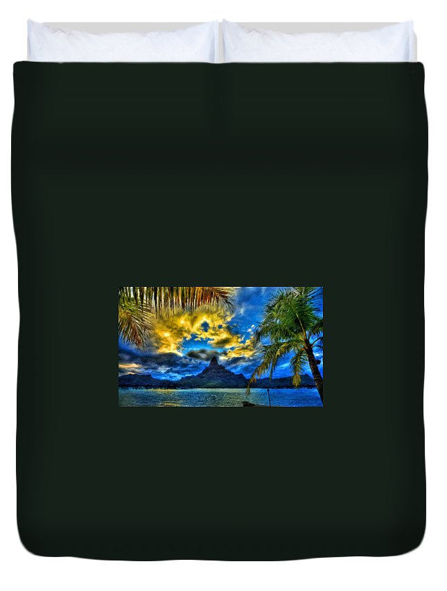 Landscape Duvet Cover featuring the painting Landscape Nature Scene by World Map