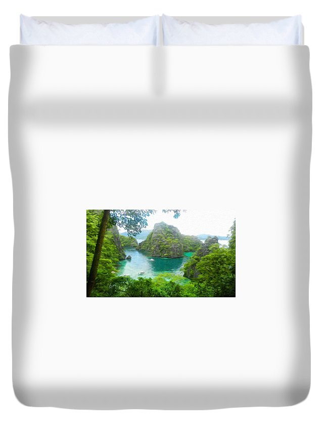 Landscape Duvet Cover featuring the painting Nature Art Landscape Canvas Art Paintings Oil by World Map