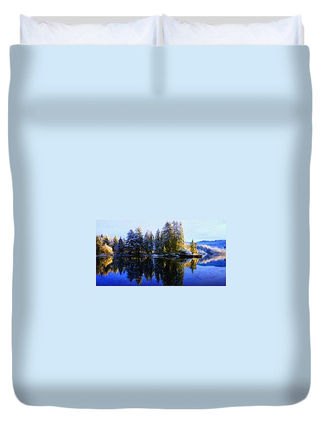 Landscape Duvet Cover featuring the painting Nature Landscapes Prints by World Map
