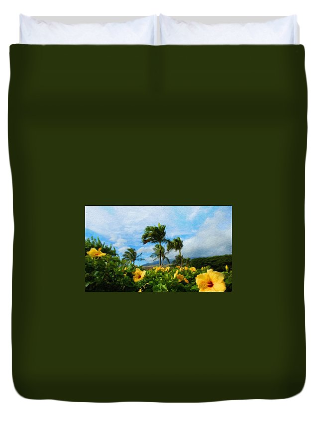 Landscape Duvet Cover featuring the painting Nature New Landscape by World Map
