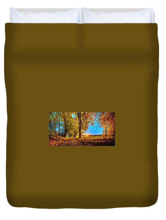 Landscape Duvet Cover featuring the painting Nature Cool Landscape by World Map