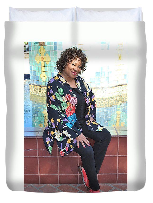 African American Duvet Cover featuring the photograph African American Female. by Oscar Williams