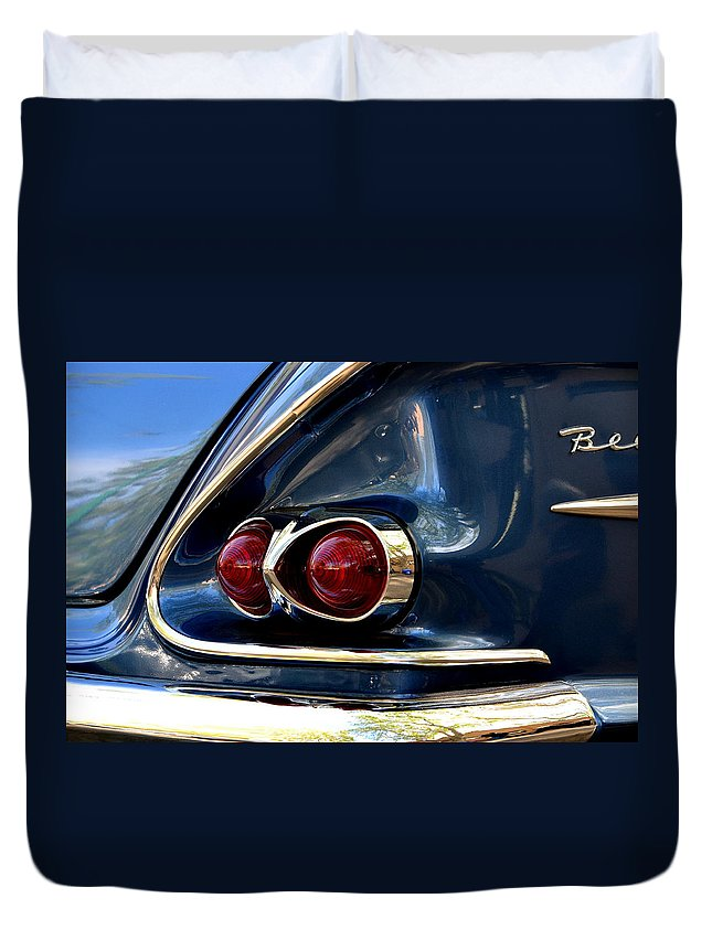 Duvet Cover featuring the photograph 58 Bel Air Tail Light by Dean Ferreira