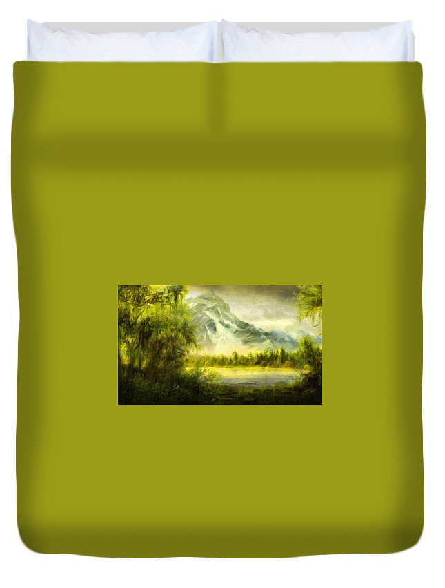 Landscape Duvet Cover featuring the painting Landscape Nature Drawing by World Map