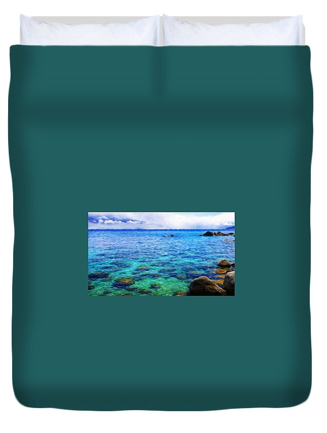 Landscape Duvet Cover featuring the painting Nature Art Original Landscape Paintings by World Map
