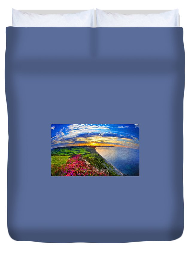Landscape Duvet Cover featuring the painting Nature Pictures Of Oil Paintings Landscape by World Map