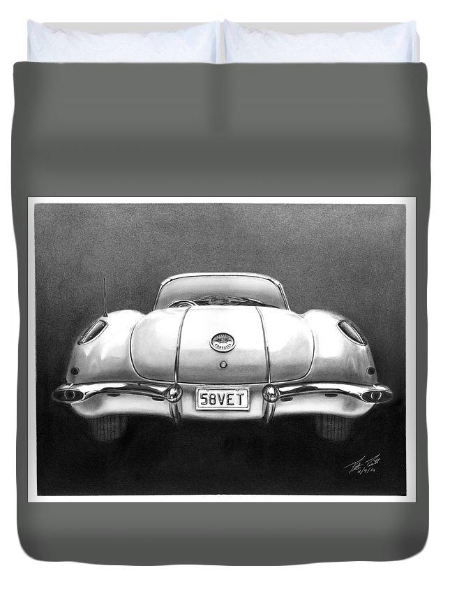 1958 Corvette Duvet Cover featuring the drawing 58vet by Peter Piatt