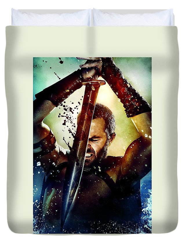 300 Rise Of An Empire 2014 Duvet Cover featuring the digital art 300 Rise Of An Empire 2014 by Geek N Rock