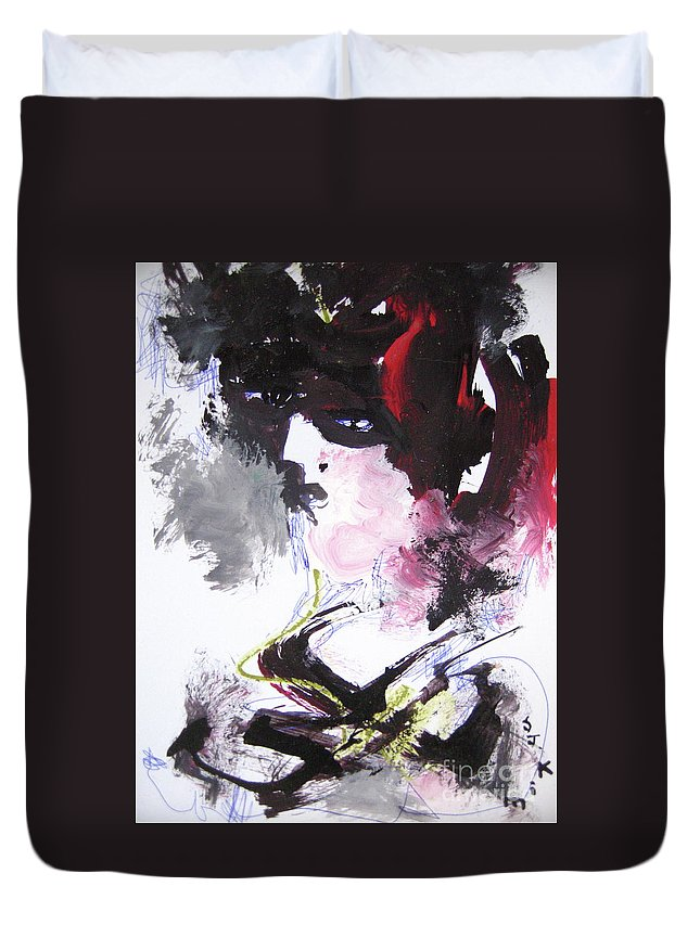 Sjkim Art Duvet Cover featuring the painting Abstract Figure Art by Seon-jeong Kim