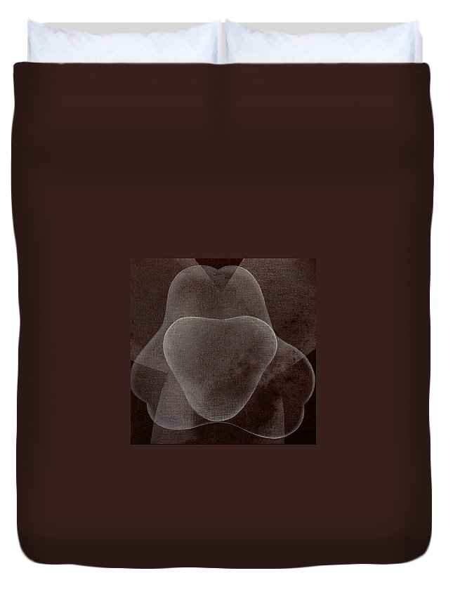 Abstract Duvet Cover featuring the painting Abstract Flower by Jitka Anlaufova