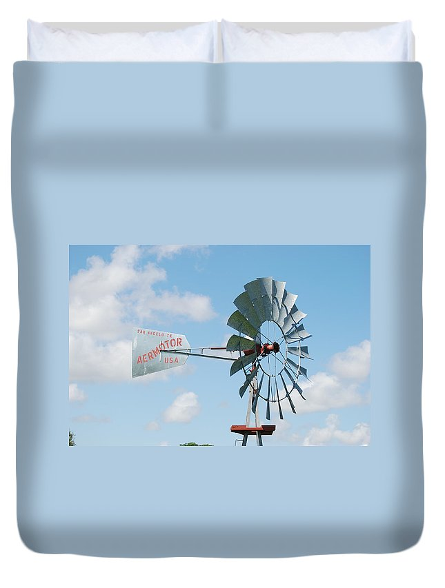 Blue Duvet Cover featuring the photograph Aermotor Windmill by Rob Hans