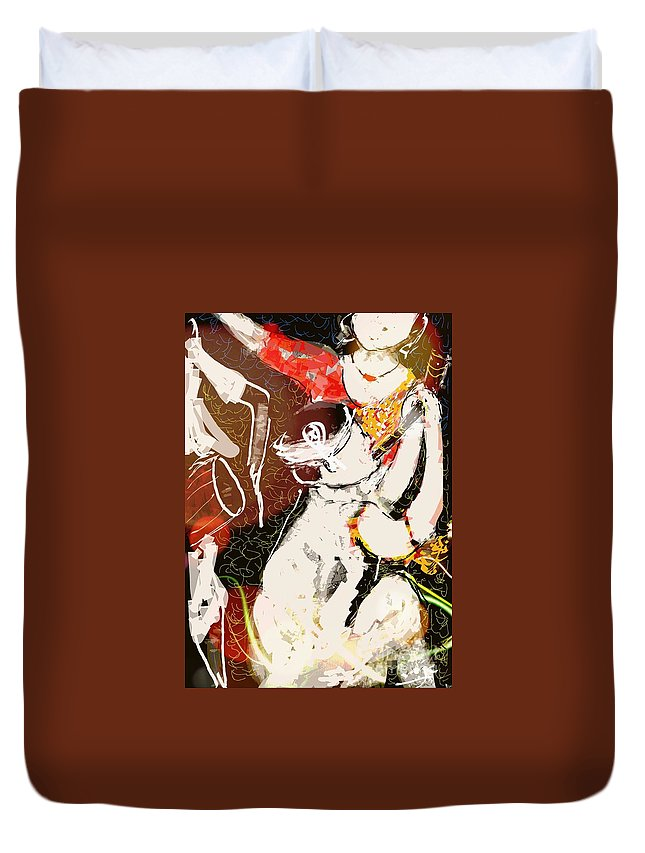Assam Duvet Cover featuring the digital art Bihu Dance by Subrata Bose