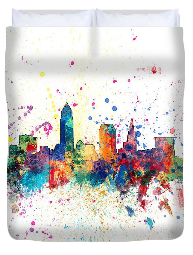 United States Duvet Cover featuring the digital art Cleveland Ohio Skyline by Michael Tompsett
