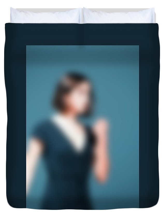 Abstract Duvet Cover featuring the photograph Contemporary Dance Performance Bokeh Blur Background by Nikita Buida