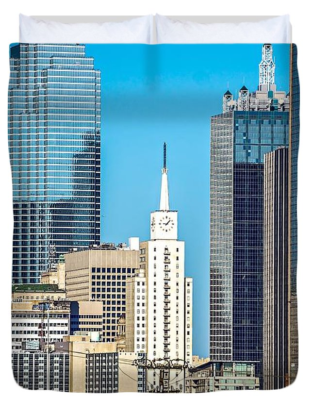 Downtown Duvet Cover featuring the photograph Dallas Texas City Skyline At Daytime by Alex Grichenko